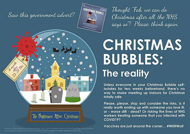 Pic: Christmas Bubbles warning from Dr L Dykes