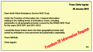 FOI Request to NWAS NHS Trust