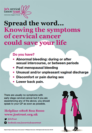 Pic: Jo's Trust Cervical CAncer poster - click to download