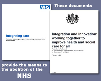 Pic: documentation which will abolish the NHS - available from the E-Library